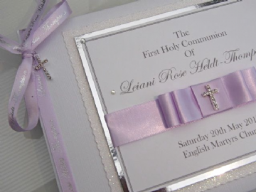 Personalised 1st Holy Communion Guest Book - Lilac